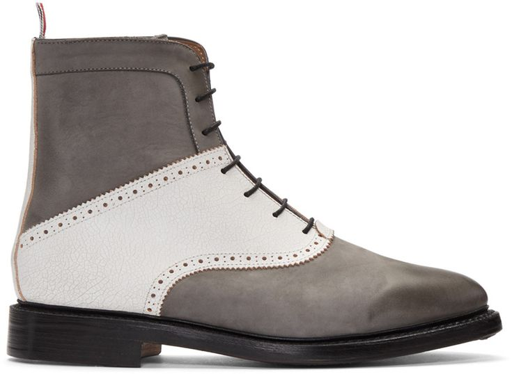 THOM BROWNE Grey Saddle Boots. #thombrowne #shoes #boots