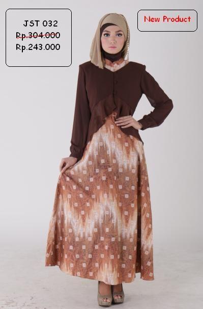 Gamis Batik dengan kombinasi cardigan Hicon Exclusive