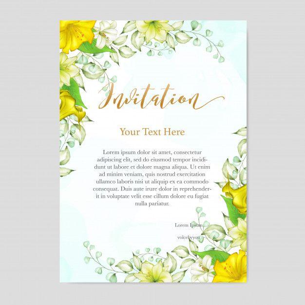 Watercolor Floral Wedding Invitation Card Template Di 2020