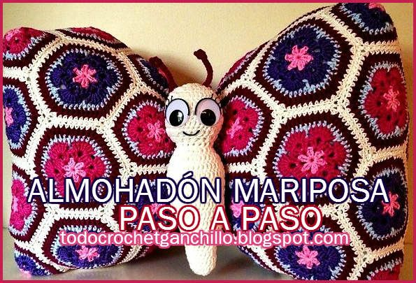 Cojin para niños mariposa con hexagonos crochet flor africana... Free diagrams for butterfly pillow and layout for grannies!