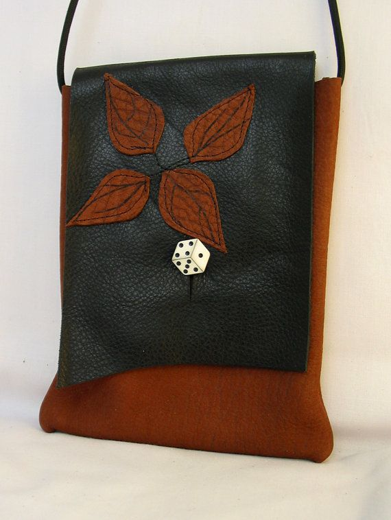 CLEARANCE! Leather Shoulder Bag - Cinnamon with Black Flap, Leaves and a Dice Button-was 32.00 now 25.00