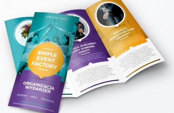 projekt graficzny ulotki reklamowej formowej w żywych kolorach dla formy eventowej