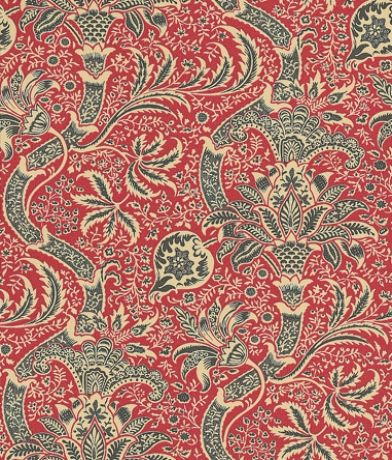 Indian (DMOWIN104) - Morris Wallpapers - A faithful reproduction of a late 19th C design, this is a flamboyant stylised intricately patterned and richly coloured floral trail.Available in 4 colours – shown in the red and black. Please ask for a sample for true colour match.