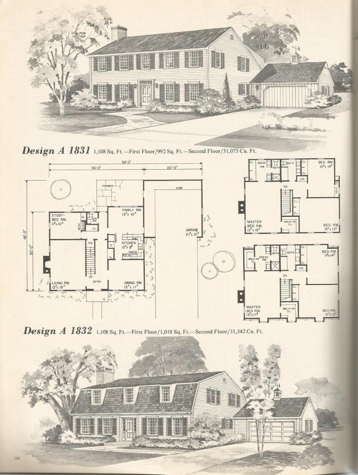 vintage house plans mid century homes design a 1831 1832