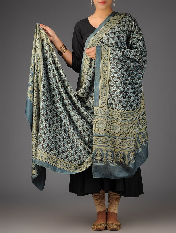 Buy Indigo Olive Black Gajji Silk Ajrakh Printed Natural Dyed Dupatta Accessories Dupattas Wearable Art Gaji and Cotton Online at Jaypore.com