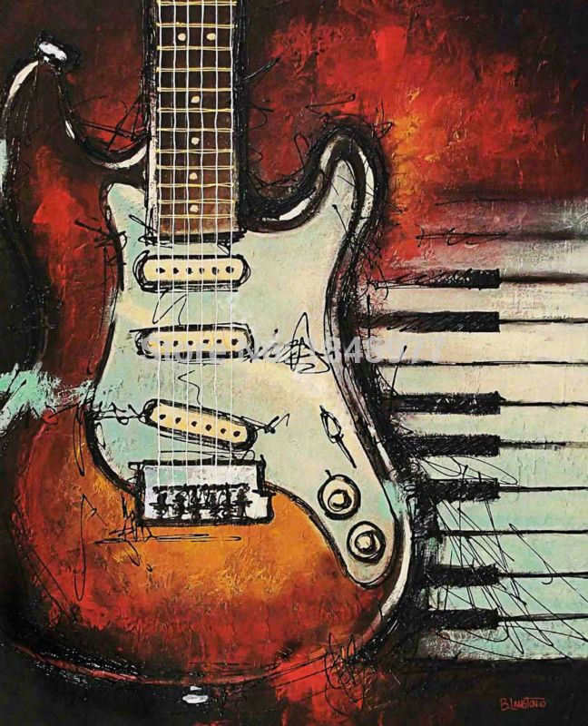 modern canvas vintage abstract decorative music still life guitar oil painting on canvas for living room home decoration