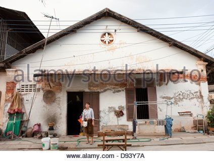 Old French Colonial House, Thakhek, Laos Stock Photo