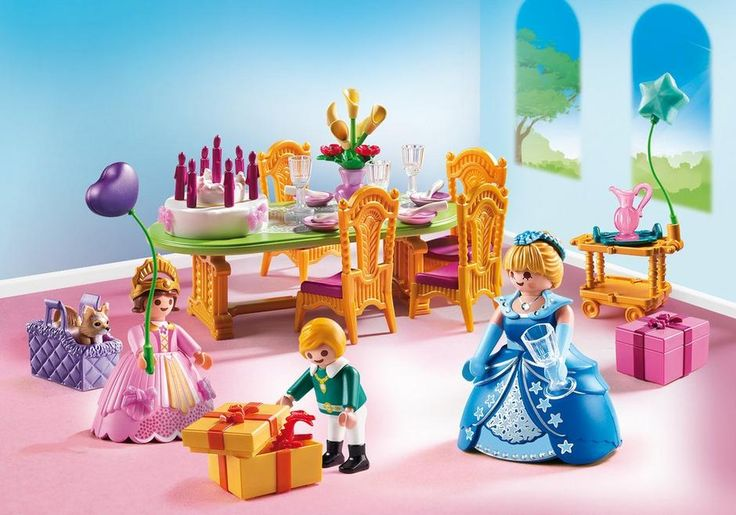 You are cordially invited to the Playmobil Royal Birthday Party! The party table is set, the cake is decorated, and the balloons are up. It's time to open gifts and find out what's inside! Set includes one adult figure with interchangeable skirt, two child figures, birthday cake with candles, gifts, balloons, dog, crown, and many other accessories. Recommended for ages four and up $34.99