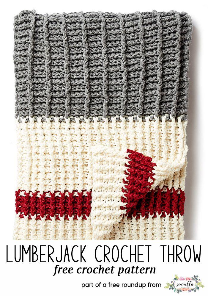 Crochet this easy lumberjack stripe texture sock monkey afghan blanket throw with fringe from my 12 coziest crochet afghans free pattern roundup!