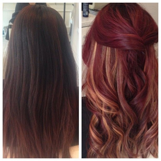 """Before & After"" Velvet Red with peek-a-boo highlights. For when my hair grows out again!"
