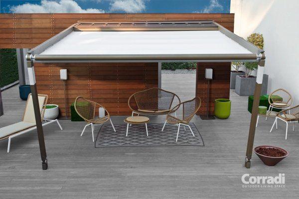 ... terrasse avec auvent retractable et brise vue aménagement terrasse