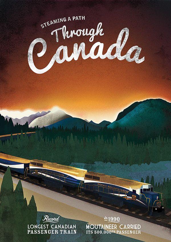 vintage train poster - train trip through Canada