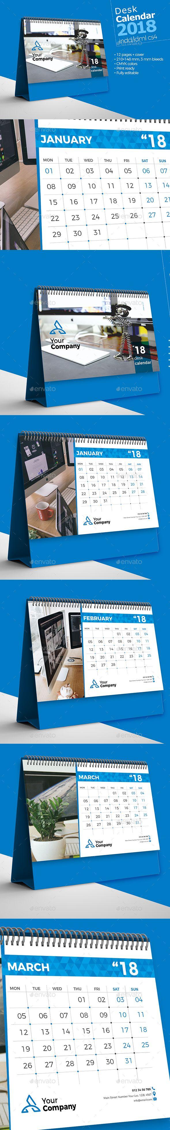 Desk Calendar 2018 Template InDesign INDD - 210×148 mm