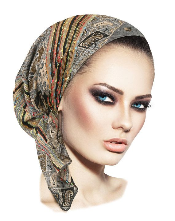 245c3b79597 Grey headcovering gray ethnic head scarf hippie boho chic snood tichel pre  tied bandana chemo hat cap headwear ShariRose pashima soft gold
