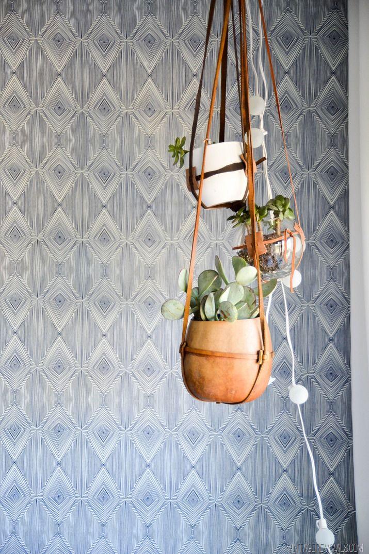 Jumble of planters and cafe lights in a 'Desert Nomad' bedroom by Mandi Gubler at Vintage Revivals