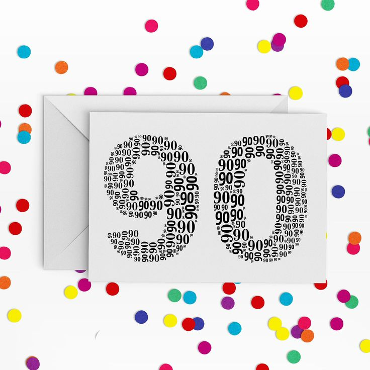 90th Birthday Card, Number ninety Card, 90th Birthday, Happy Birthday Card, 90th Birthday Card by PepperDoodles on Etsy