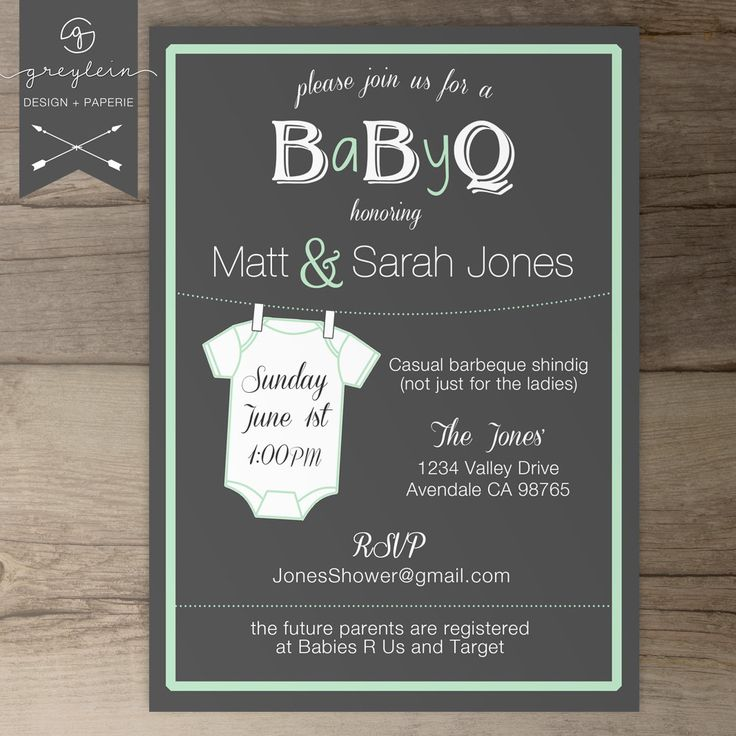 baby shower invitation wording for bringing diapers%0A BaByQ Baby Shower Invitation   guy friendly   coed BBQ baby shower DIY  Printable Invitation   chalkboard