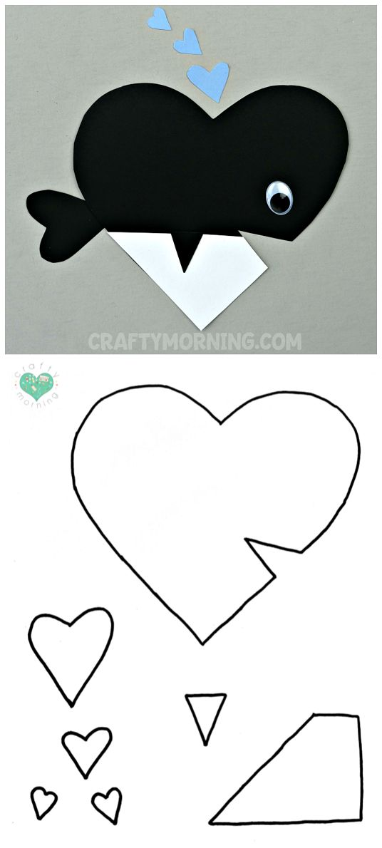 Free Printable Templates of Heart Shape Animals - Whale valentines day craft for kids