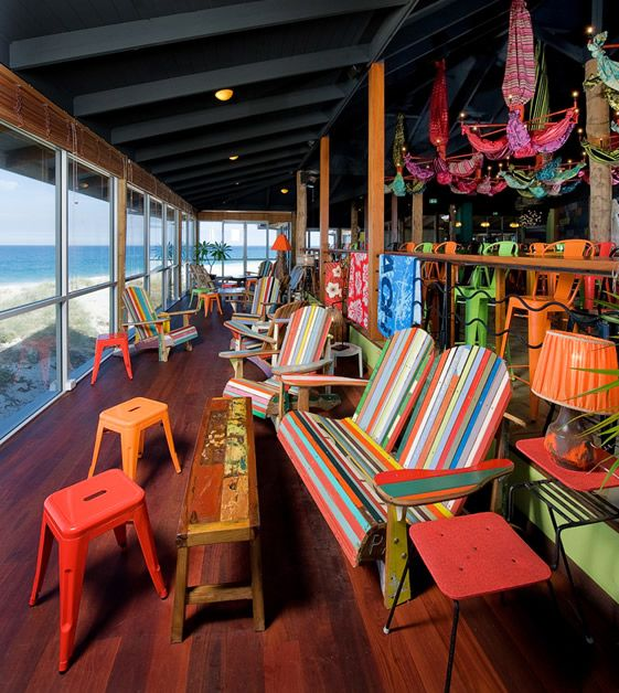 Clancy's Fishbar, City Beach, Perth. Designed by architect Paul Burnham. Click for more photos, they're all gorgeously colourful.     @Carlee Bourque have you been here?