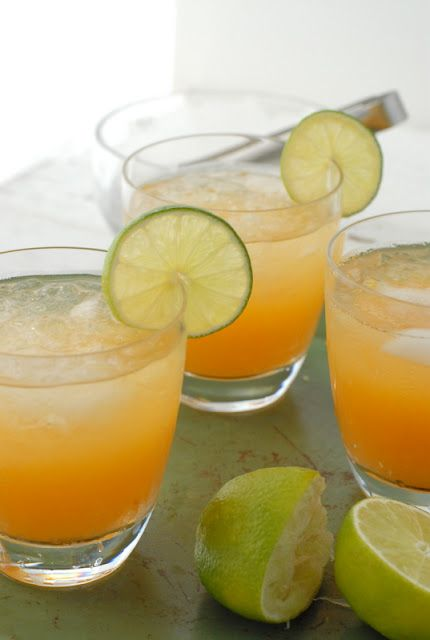 Fresh Peach Margaritas - Silver Tequila, Lime Juice, Agave Syrup, Peach Purée and Lime Slice for Garnish