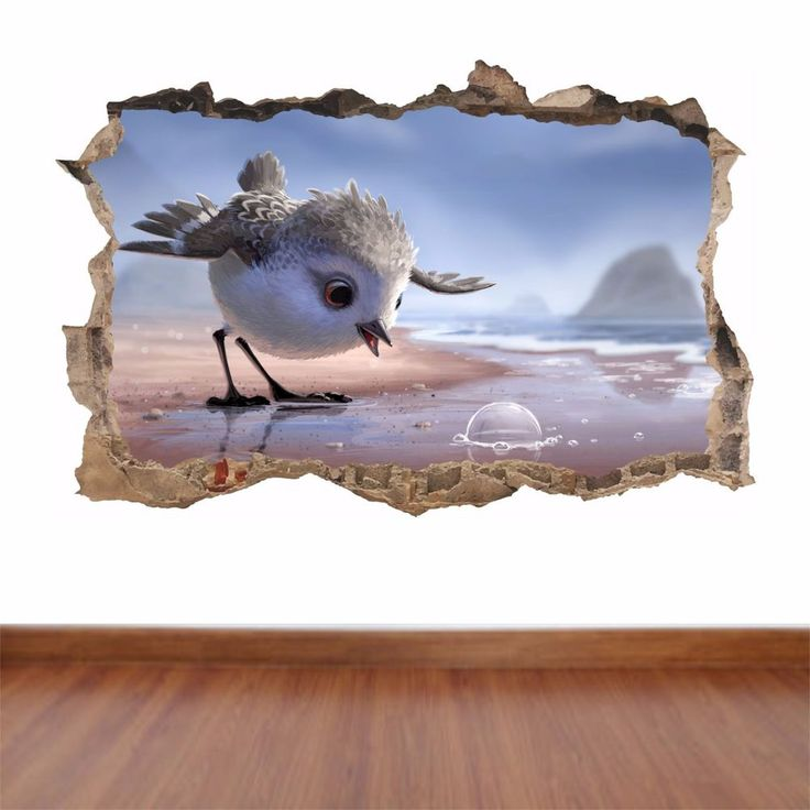 Piper Bird Water Bubble Cute humorous hole in the wall art sticker decal funny