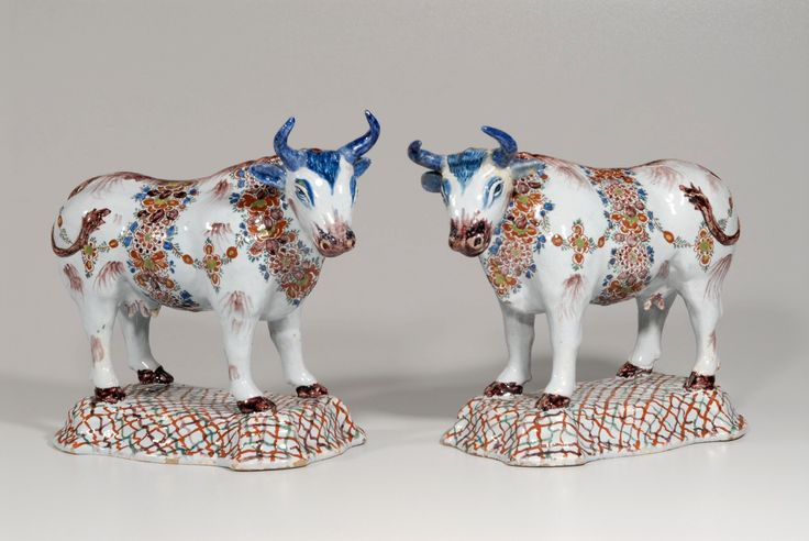 Collection item • D0760. Pair of Polychrome Large Figures of Cows  Delft, circa 1780  Lengths: 25 and 25.7 cm. (9 13/16 and 10 1/8 in.)     Share      Download Download larger image     Images on this website are licensed under a Creative Commons Attribution-NoDerivs 3.0 Unported License.