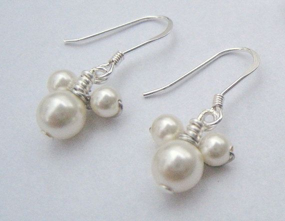 Mickey Mouse Pearl Earrings-I could make :-)