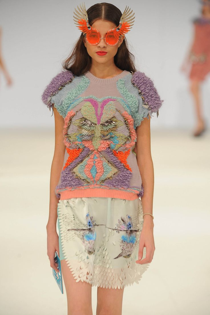 Vanina Yankova of Nottingham Trent university brought a textural feast to her #GFW knitwear collection, featuring - 3D knitted prints and Laser cut details worked in a dreamy palette of mint, lavender, peach and pumpkin, finished off with an eccentric pair of winged sunglasses.