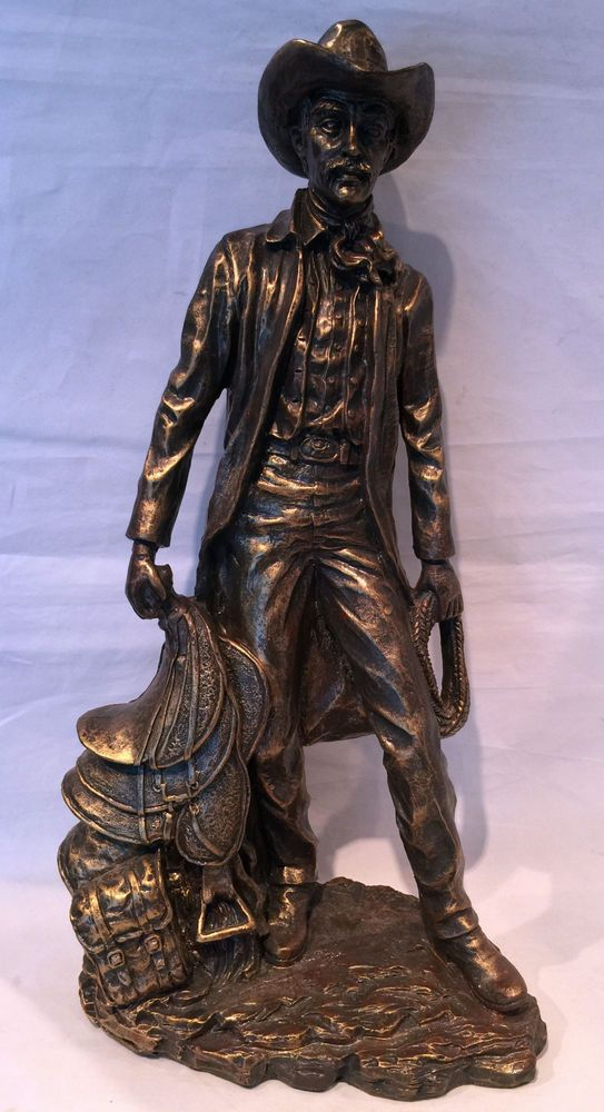 Cowboy With Saddle Figurine Resin Statue Bronze Look Western Decor 18 Quot Tall Bronze Statue