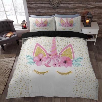 5b9e19f1fb Gold Unicorn Floral Wreath 3D Printed Bedding Set Duvet Cover Shop For Sale