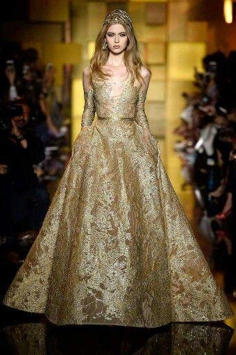 Breathtaking  Gold Gown. Eli Saab