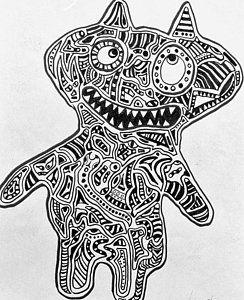 Drawing - Creepy Kitty by Regina Jeffers