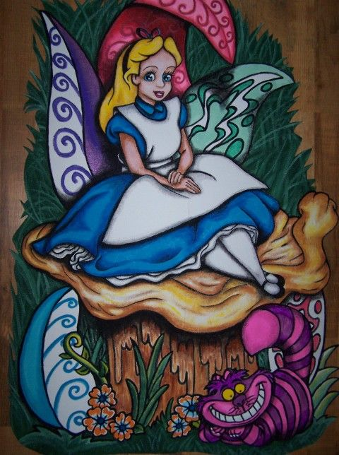 103 best images about wall murals and projectors on pinterest for Alice in wonderland wallpaper mural