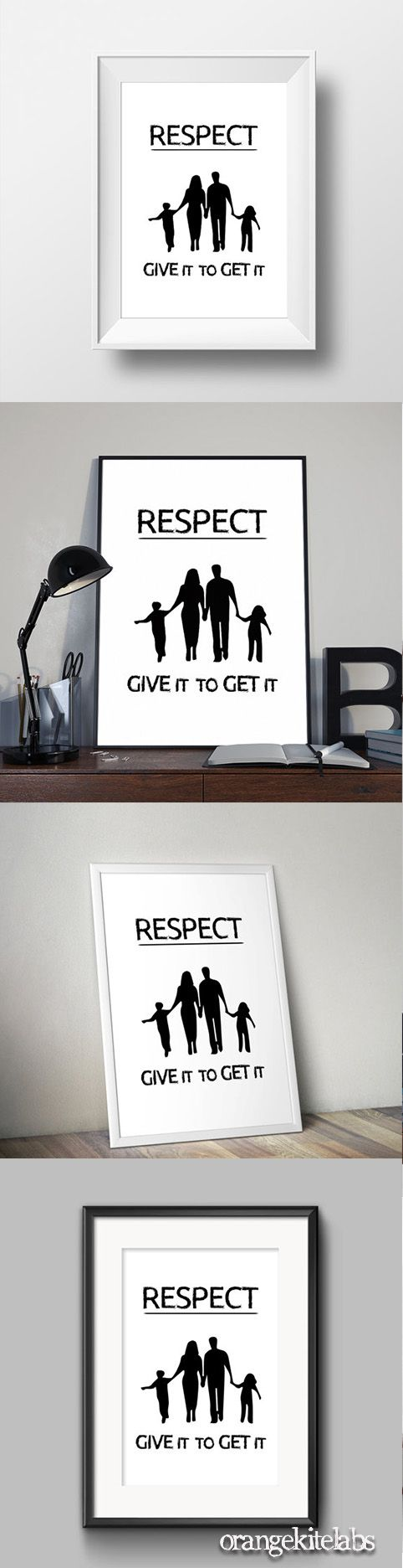 respect quote poster, #wall_art_decor #room_decor #Black_and_white_art #printable_quote #digital_print #respect_quote