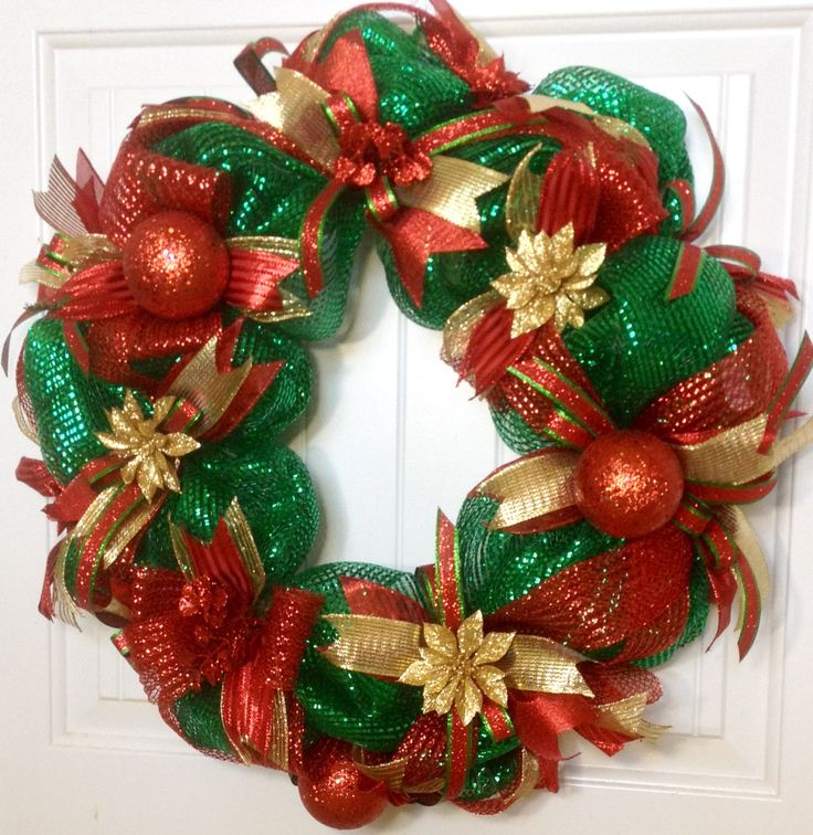 Christmas Deco Mesh Wreath, Christmas Mesh Wreath, Deco Mesh Wreaths For Sale, Christmas Mesh Wreaths For Front Door, Christmas Decor by ADOORnedAccents on Etsy https://www.etsy.com/listing/488852703/christmas-deco-mesh-wreath-christmas