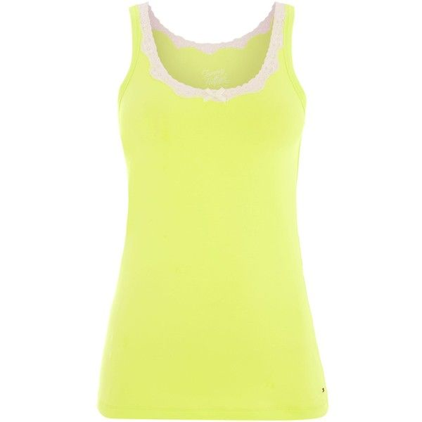 Tommy Hilfiger Elsa cami top ($24) ❤ liked on Polyvore featuring tops, green, nightwear & slippers, cami top, yellow cami, cami tank tops, green tank top and green camisole