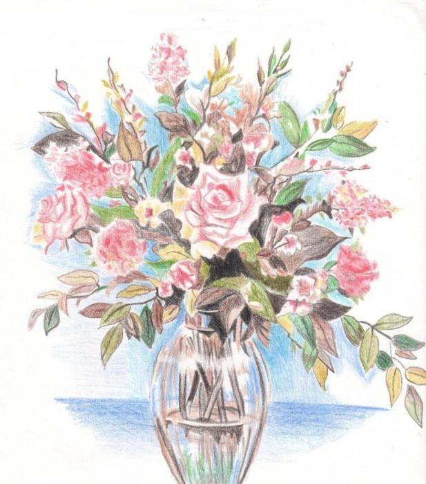 картинка ваза с цветами художника цветными карандашами хочется все это