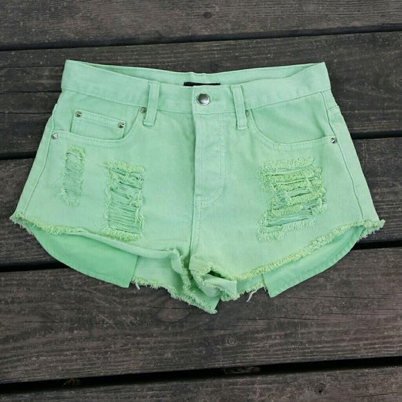 Pale neon green shorts Pale neon green shorts. Forever 21. Size 25. Forever 21 Shorts Jean Shorts