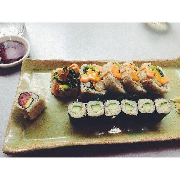 Sushi feast! Shrimp tempura and cucumber rolls