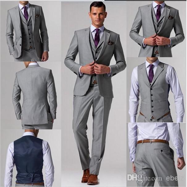 Ustom hizo trajes envío gratis gris claro novio esmoquin trajes de boda por encargo desgaste novio conceden el vestido mens trajes de novio boda