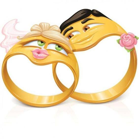 Wedding ring smileys. LOL, before my post gets to be misunderstood let me say that pin is about a female smiley being happy to be married to an educated  smiley who is not some weird smiley professor. LOL, true! ahahahaha