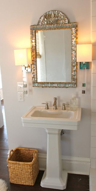 Beautiful mother of pearl bathroom  mirror - Design Chic: Beaufort Update!