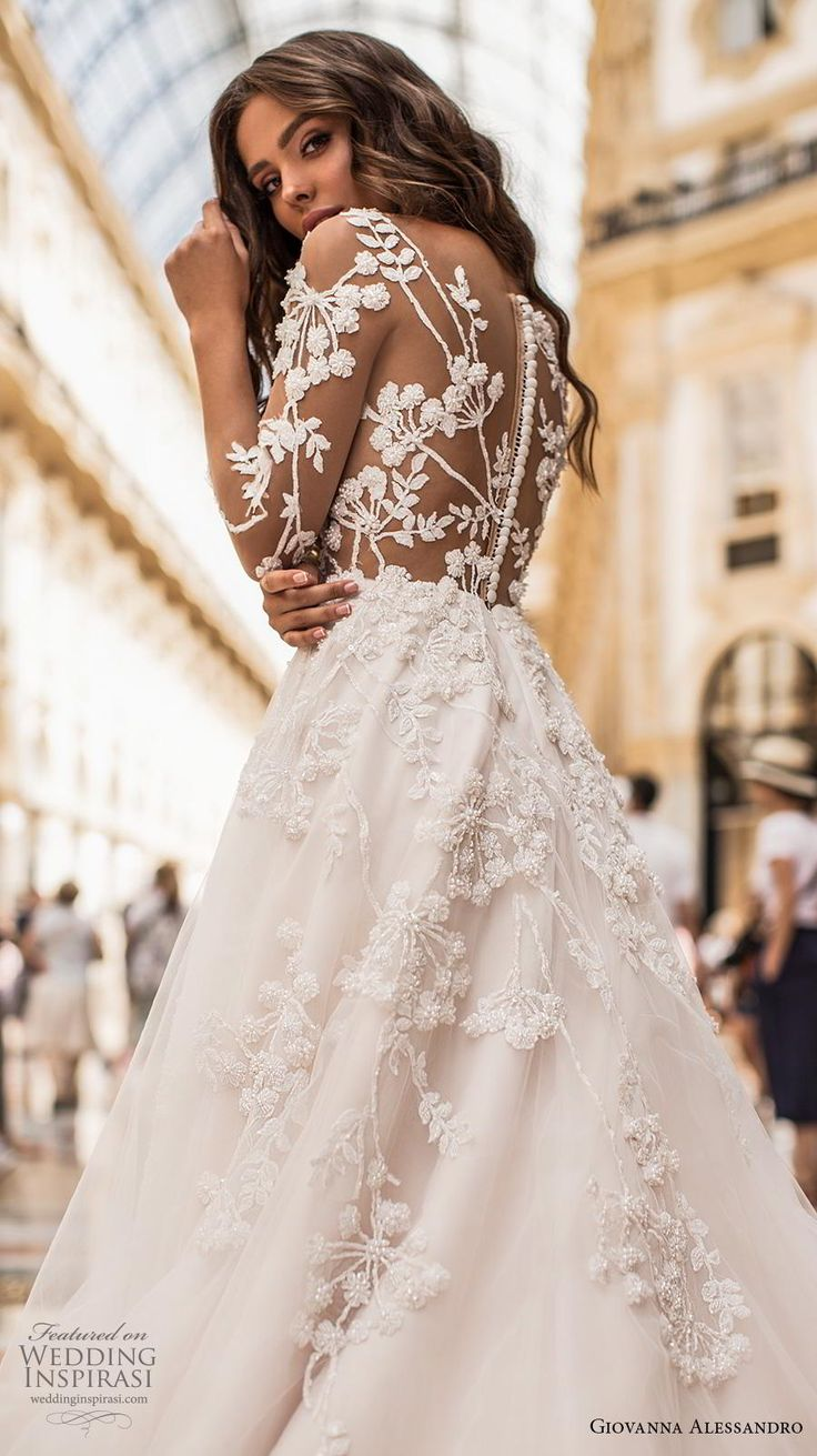 giovanna alessandro 2019 bridal three quarter sleeves sweetheart neckline heavil…