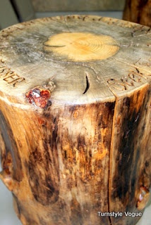 a table tale made out of tree trunk