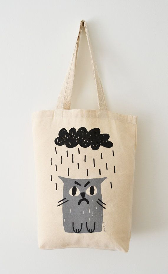 Cat Tote Bag Hand Screen Printed Grumpy Cat Design by miristudio