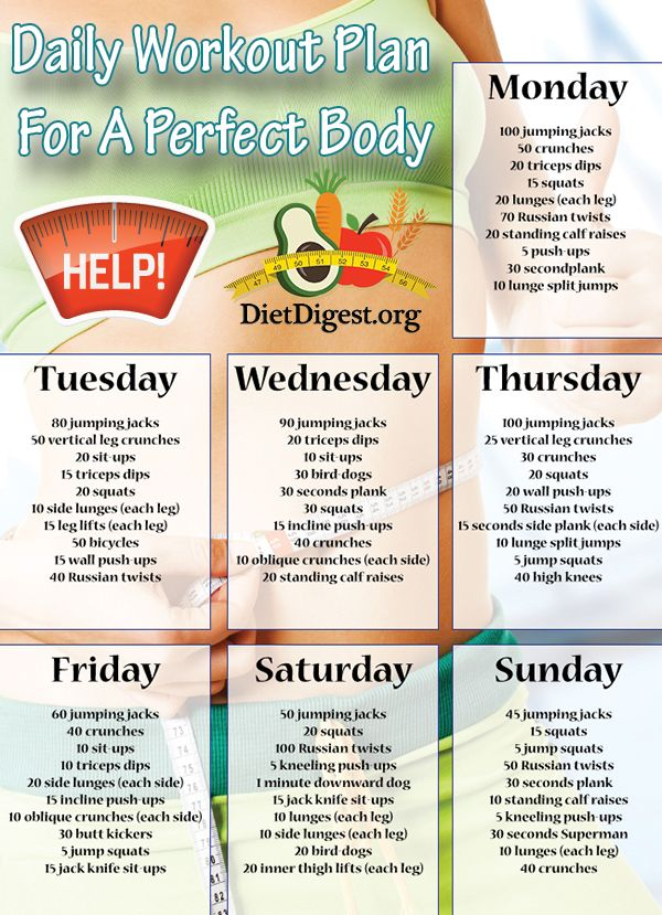 Daily workout plan for a perfect body #fitness #diet
