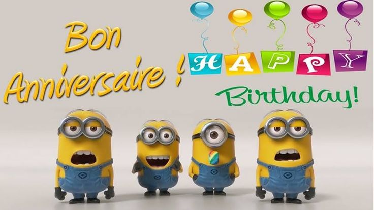 Minions - Joyeux Anniversaire/Happy Birthday New tradition!  We are playing this whenever anyone has a birthday.  Kids crack up!  Love it!