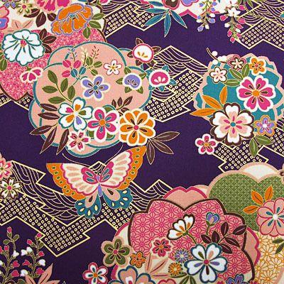 シーチング和柄生地着物風彩華に蝶紫