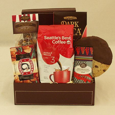 Coffee and Chocolates Gift Basket - paired with Brown & Haley's Almond Roca, Chocolate Almond Gourmet Popcorn, Seattle Chocolate San Juan Sea Salt Truffle Bar, Chukar Chocolate Vanilla Almonds and a Chocolate Dipped Chocolate Chunk Gourmet Cookie.