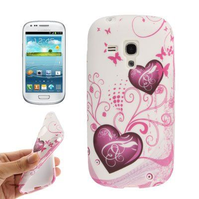 Heart-shaped Butterfly Pattern TPU Case for Samsung Galaxy SIII mini / i8190